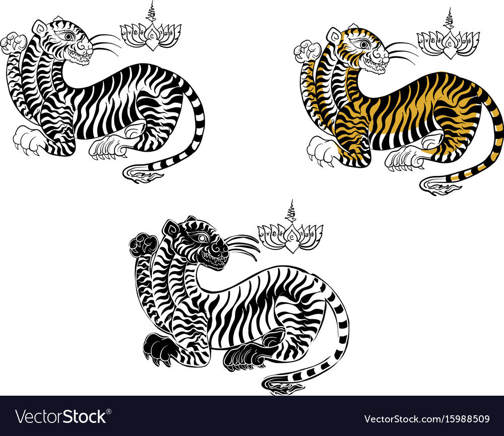 67fe615cb Tiger thai traditional tattoo Royalty Free Vector Image