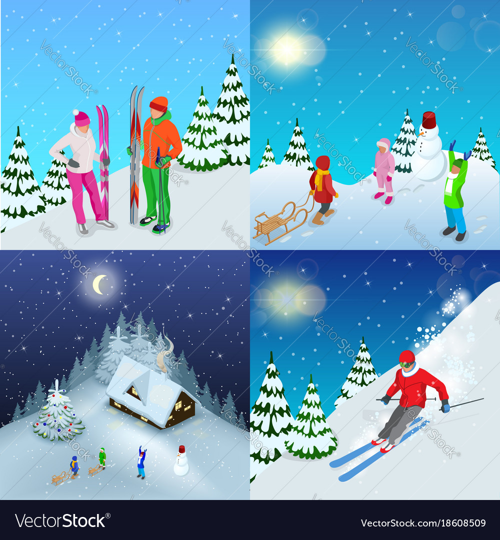 Winter active holidays concept family healthy