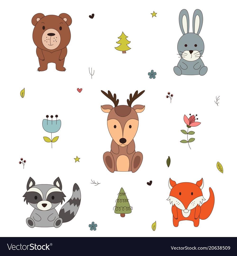 Woodland animals with cartoon hand drawn forest