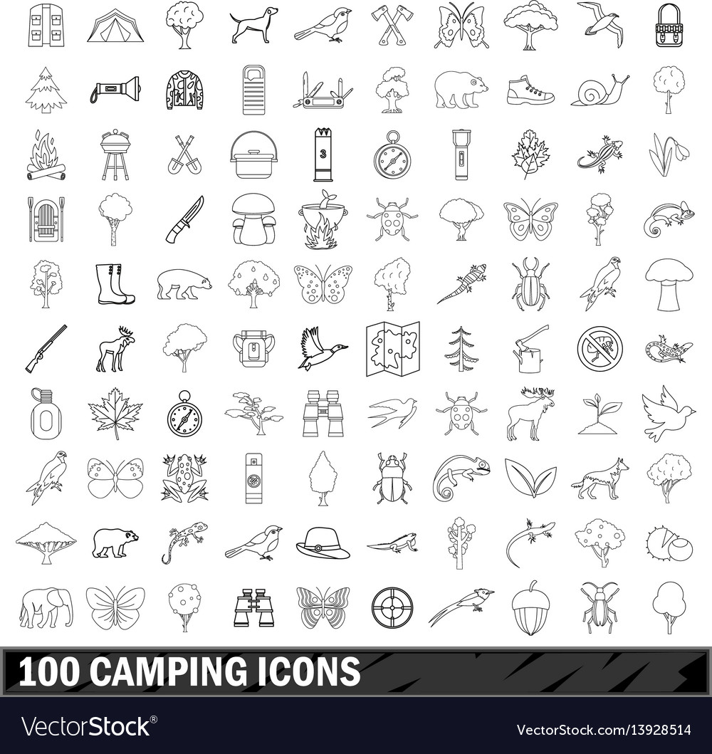 100 camping icons set outline style