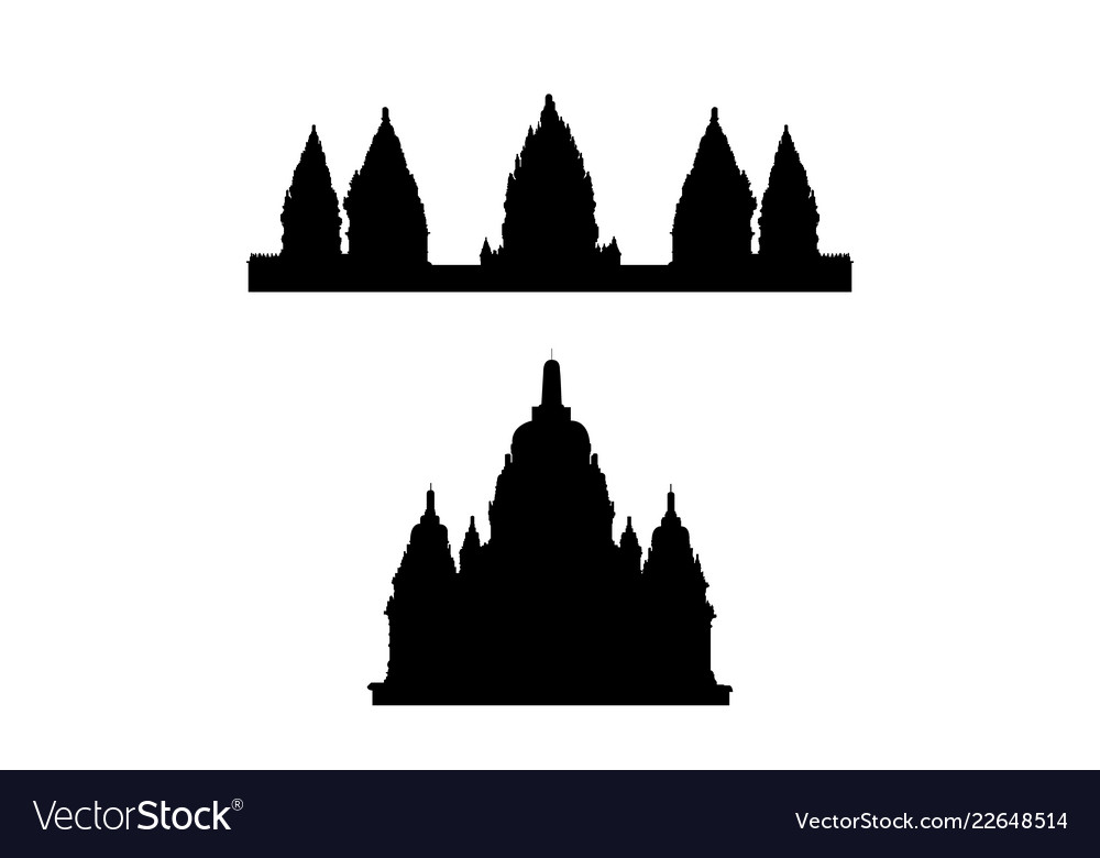A collection of silhouettes of indonesian temples