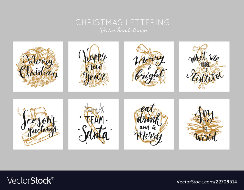 Christmas and new year posters and labels