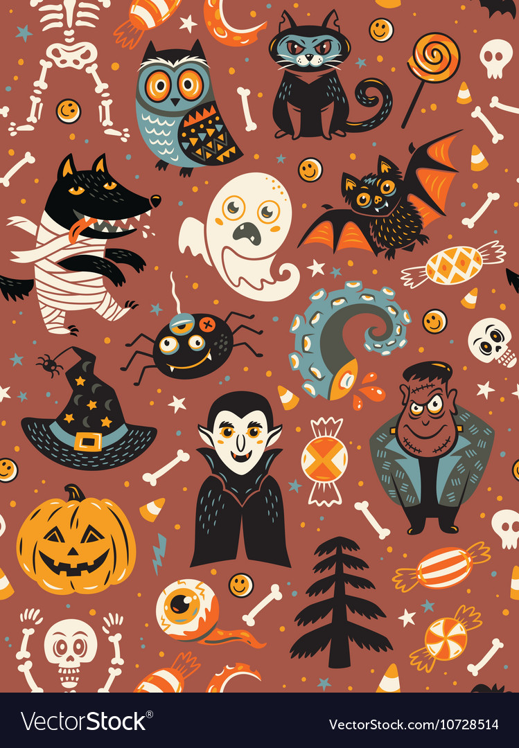 Cute Halloween seamless pattern with cartoon