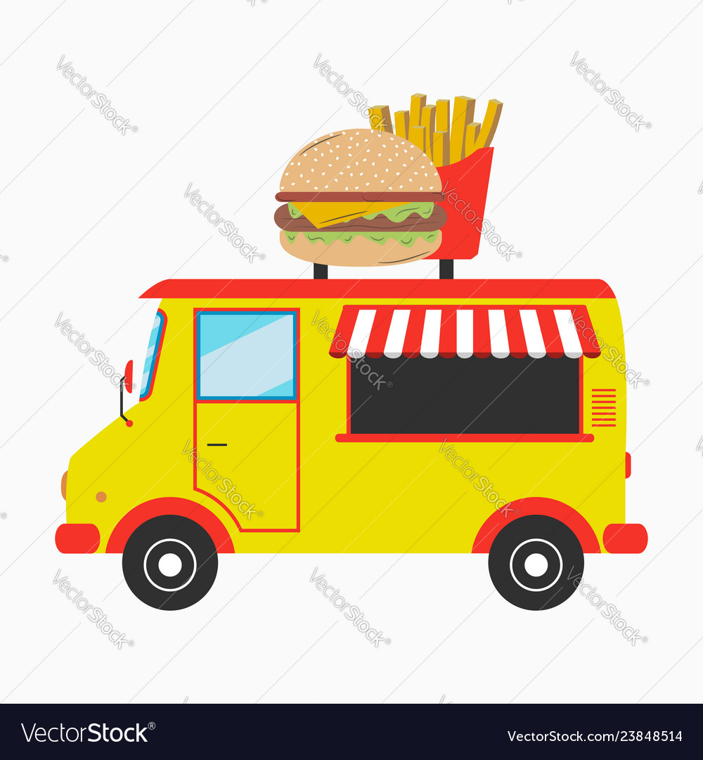 Food truck with burger and french fries