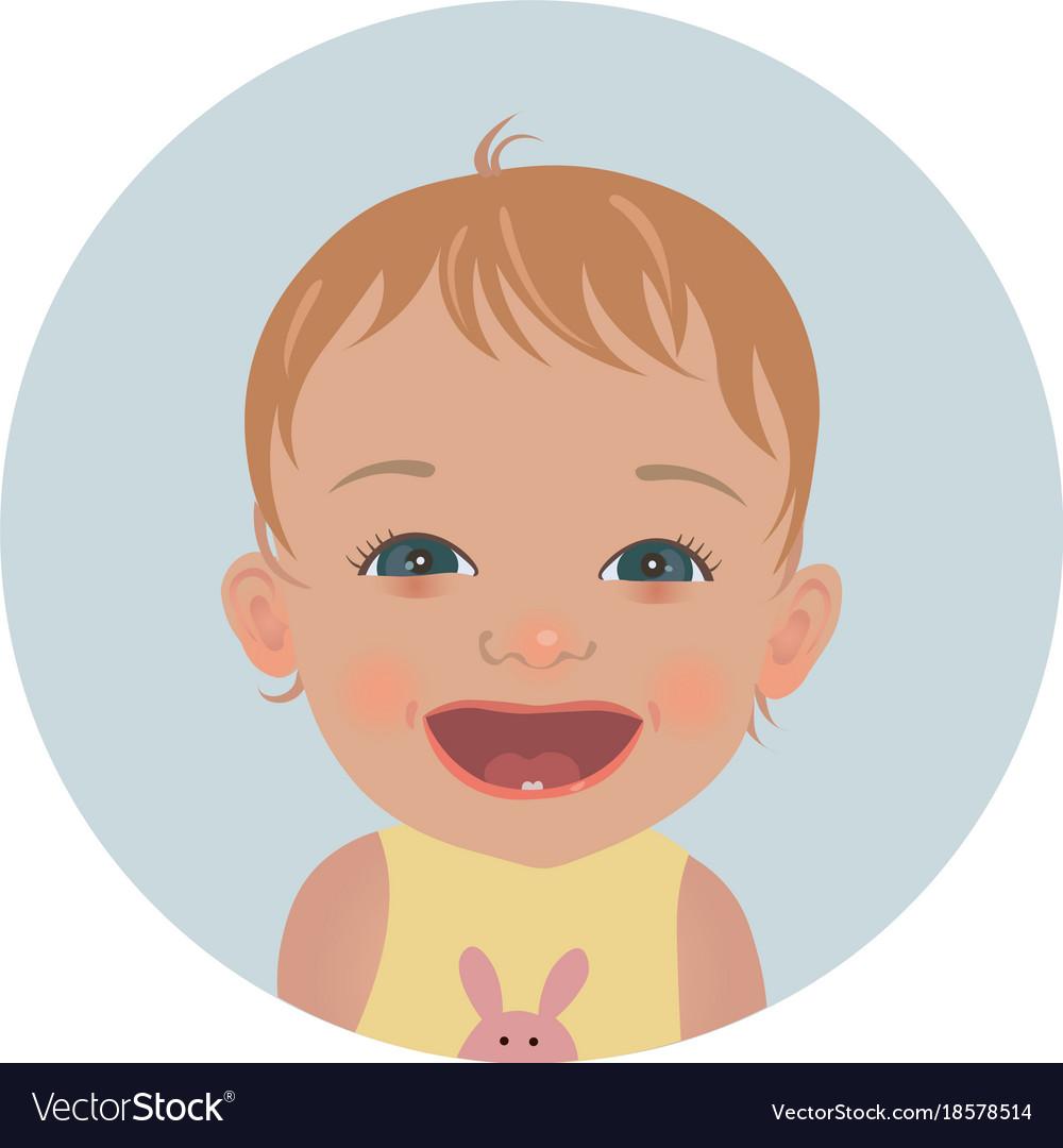 Happy baby emoticon smiling child emoji Royalty Free Vector