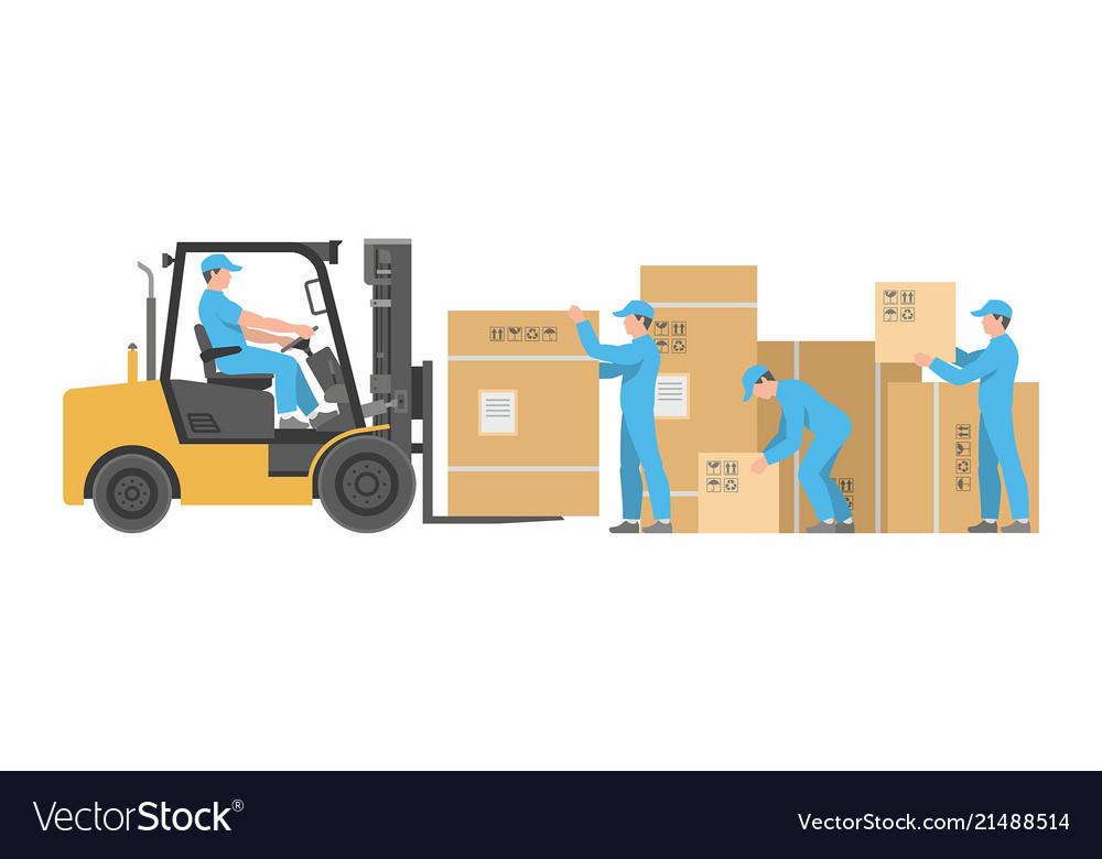 Men loading boxes on forklift