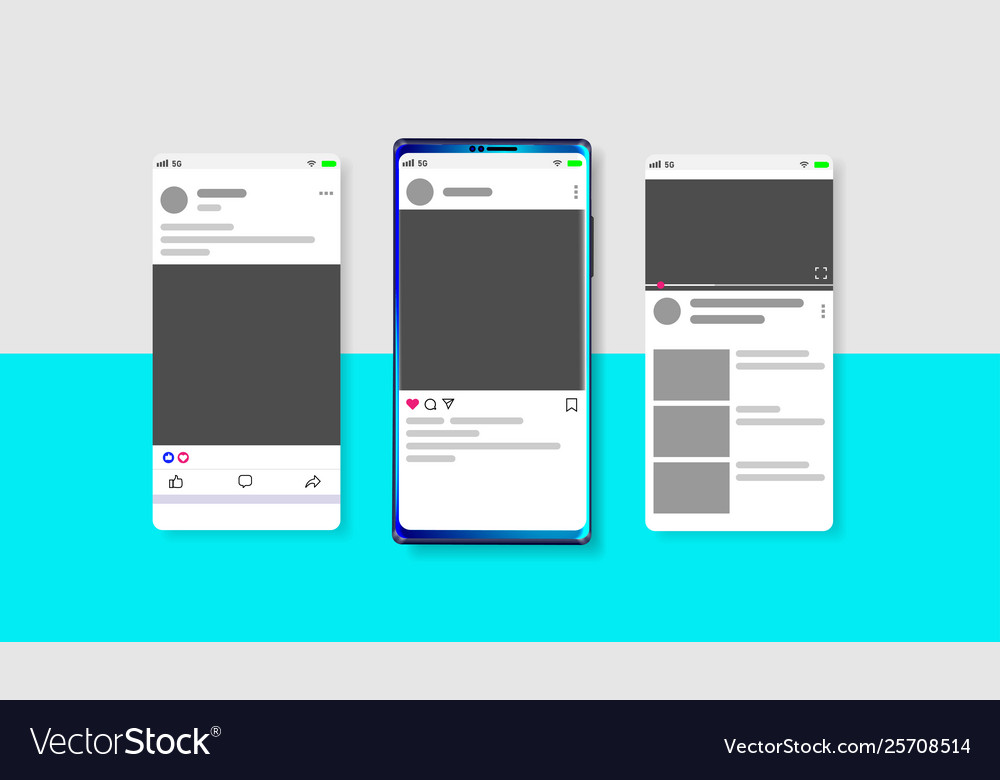 Modern social media new feed post and home page