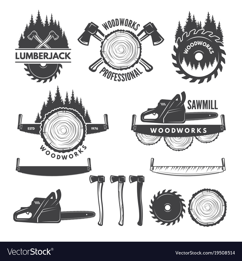 Monochrome labels set with lumberjack and pictures
