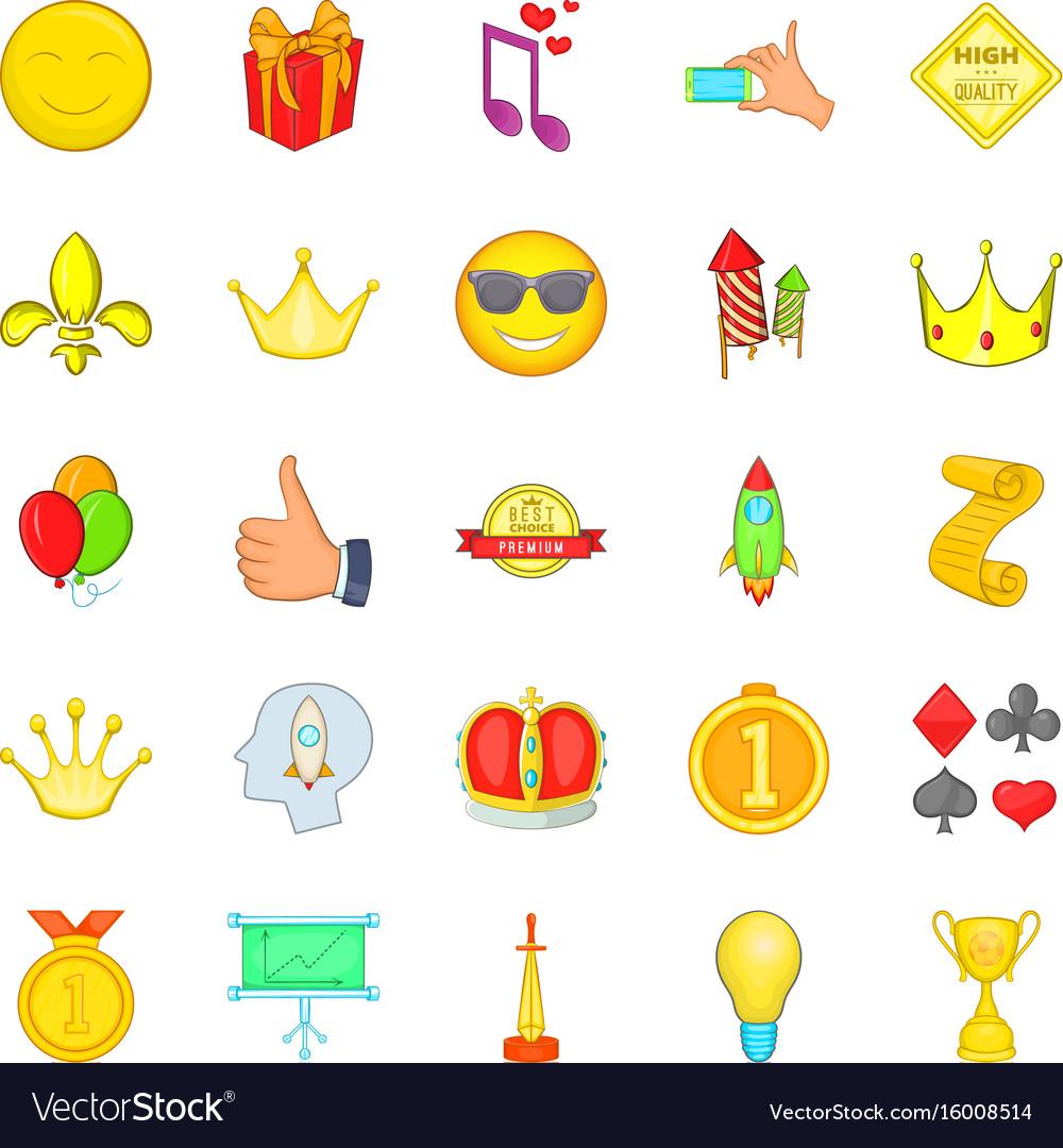 Winning icons set cartoon style
