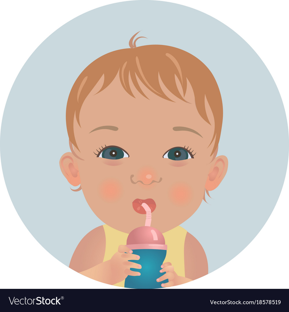 baby with bottle of milk drinking toddler emoji vector image