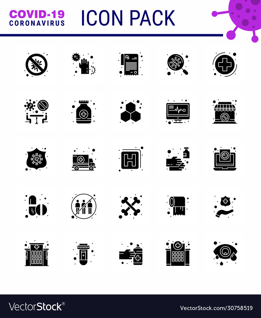 Covid19-19 icon set for infographic 25 solid glyph
