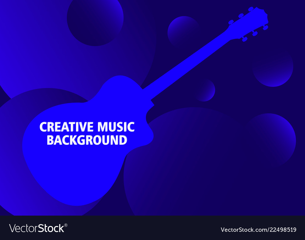 Dark blue musical background with guitar