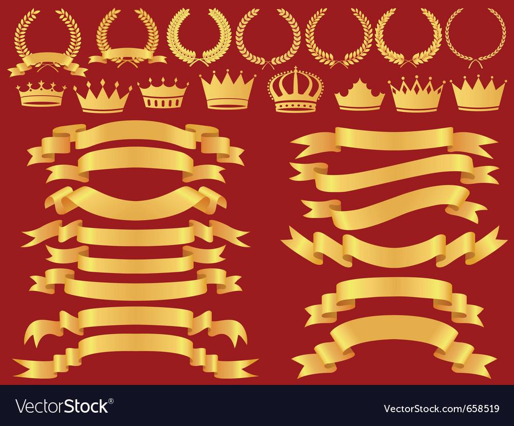 Gold bannerlaurel wreath and crown set