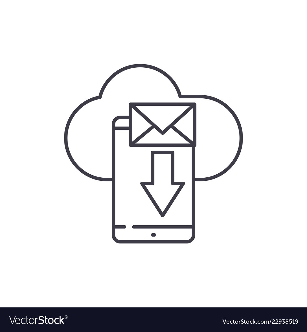Mobile letter line icon concept mobile letter