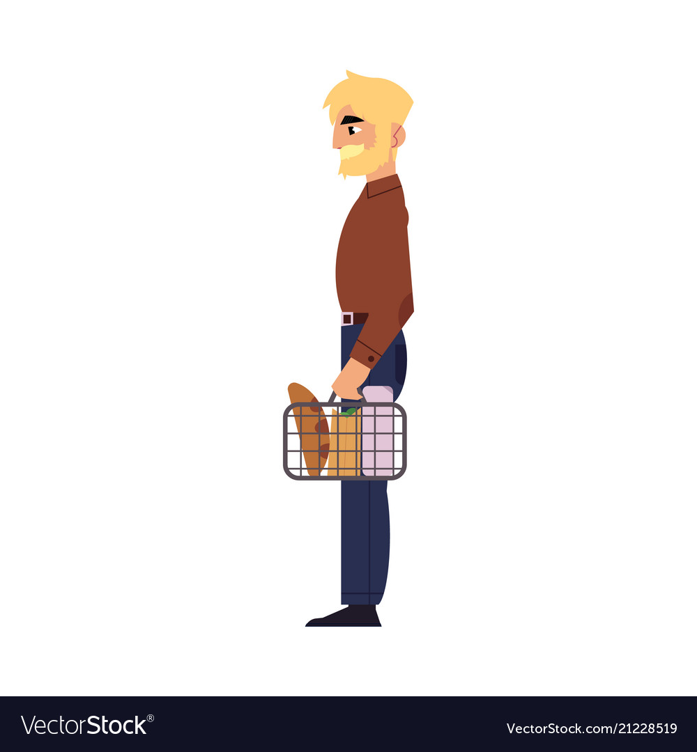 Supermarket concept element of man with shopping