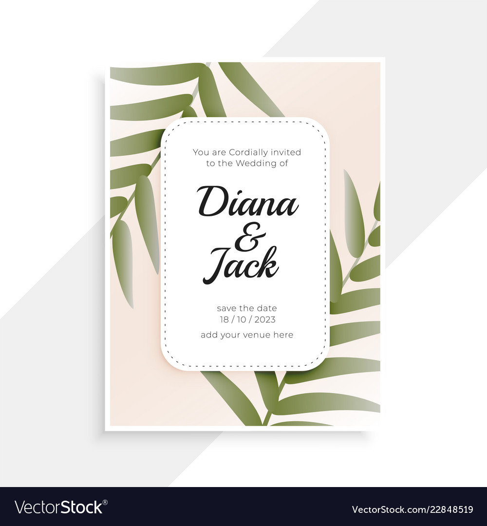 Wedding Invitation Card Design With Leaves