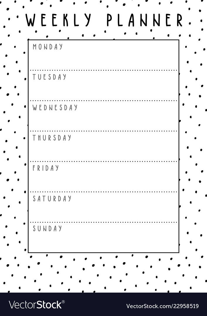 photo about Week Planner Pdf known as Weekly planner inside of lovely style and design with polka dot