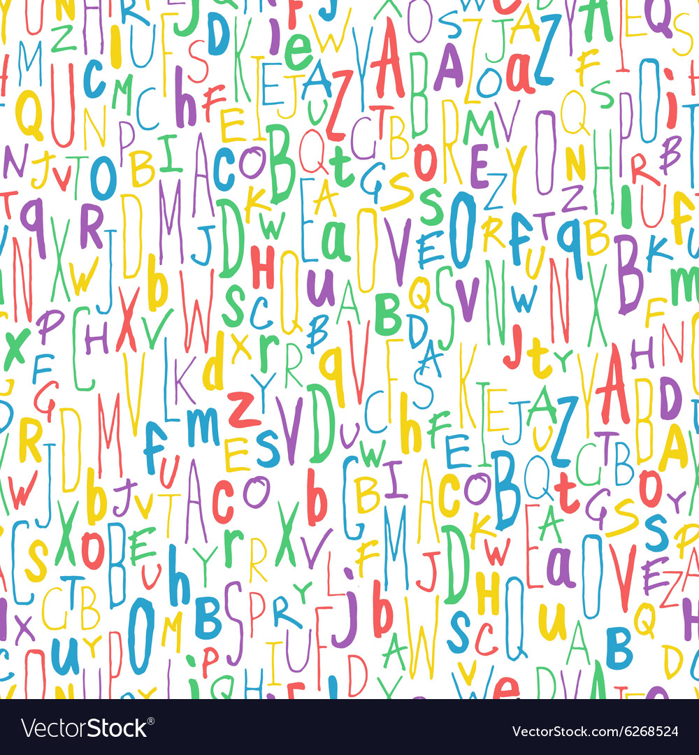 Colorful letters seamless pattern vector image