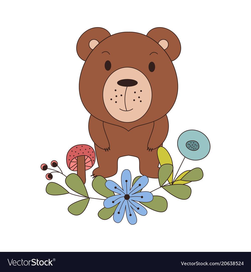Cute animal in cartoon style woodland bear with