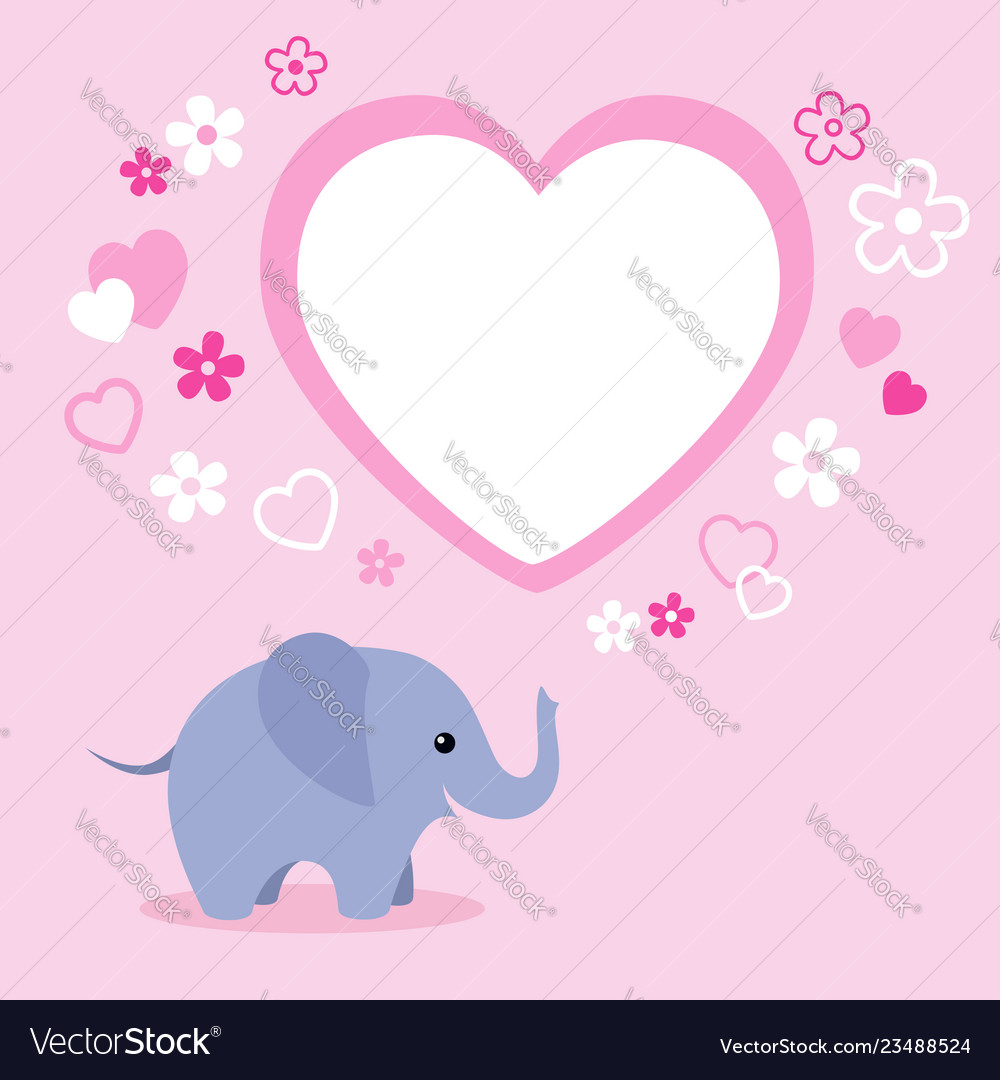 Cute elephant with heart and empty text box