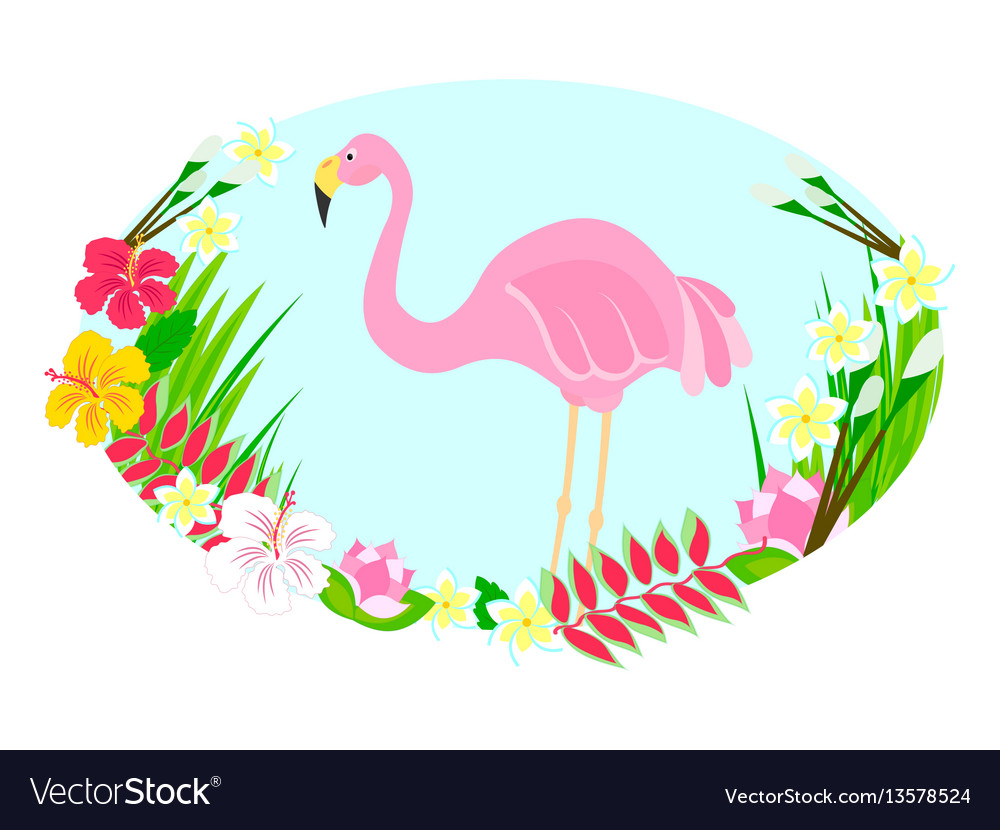 Flamingo and tropical flowers