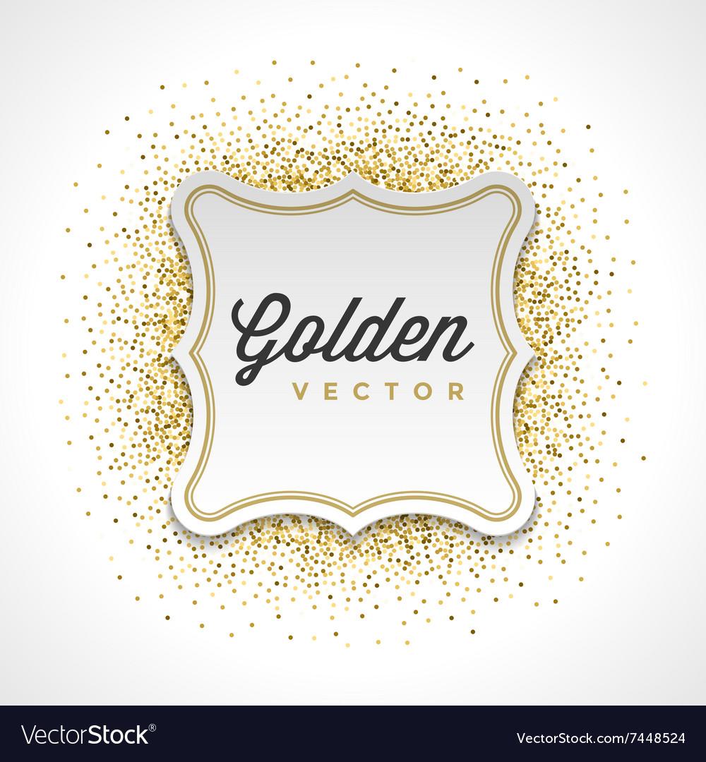 Gold Glitter Sparkles Bright Confetti White Paper