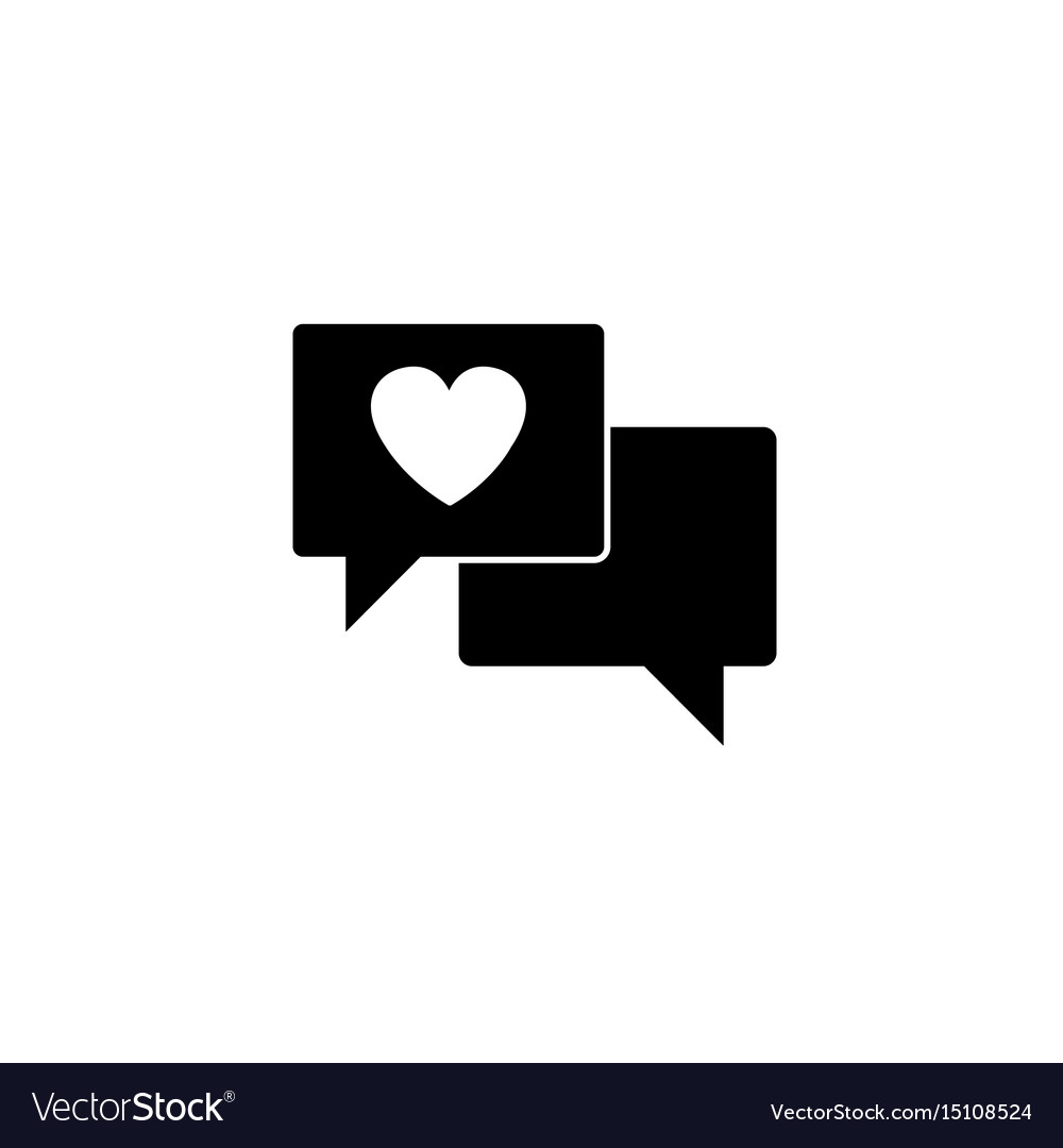 Love Chat Solid Icon Heart In Speech Royalty Free Vector