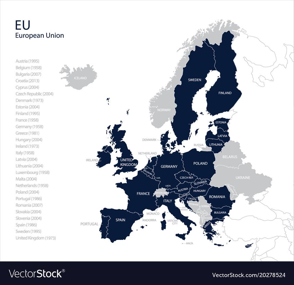 Map of eu european union Royalty Free Vector Image