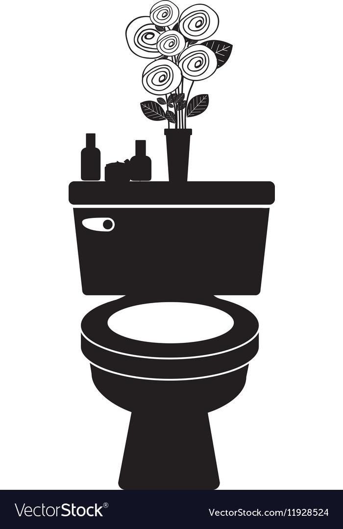 Monochrome toilet with decorative vase vector image