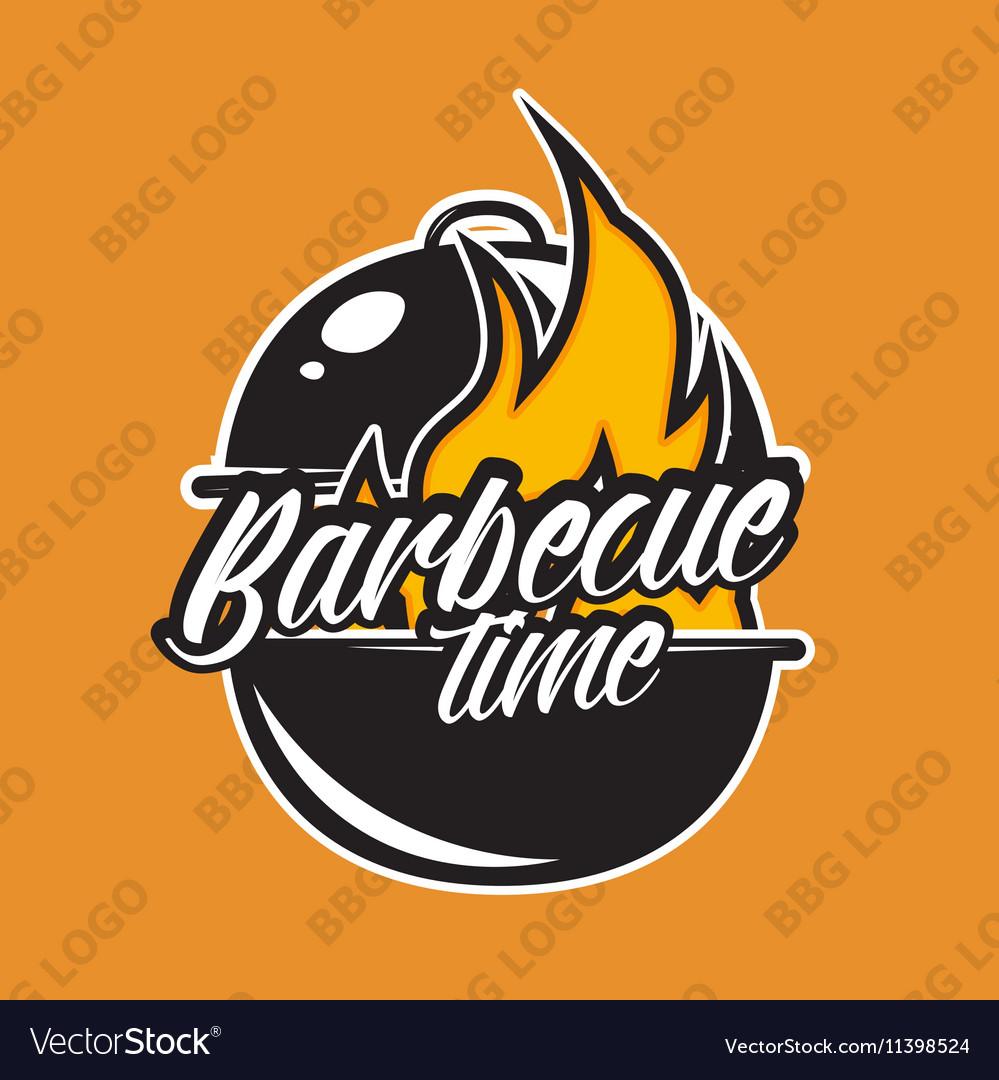 Retro barbecue logo design with fire vector image