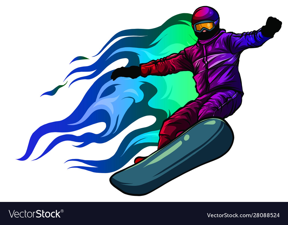 Snowboarder crow on fire art