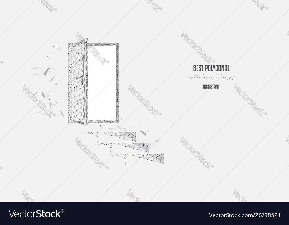 doorway schematic steps to door doorway polygonal triangles vector image  doorway polygonal triangles vector image