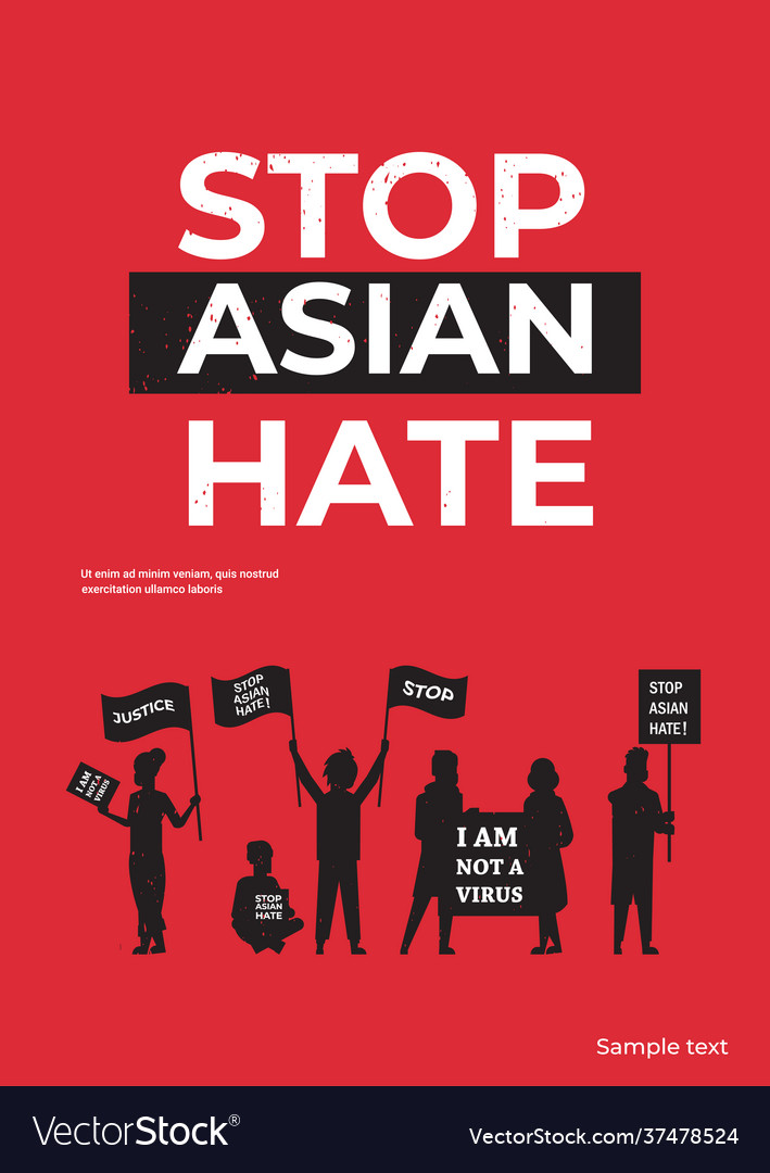 Stop asian hate people silhouettes holding banners