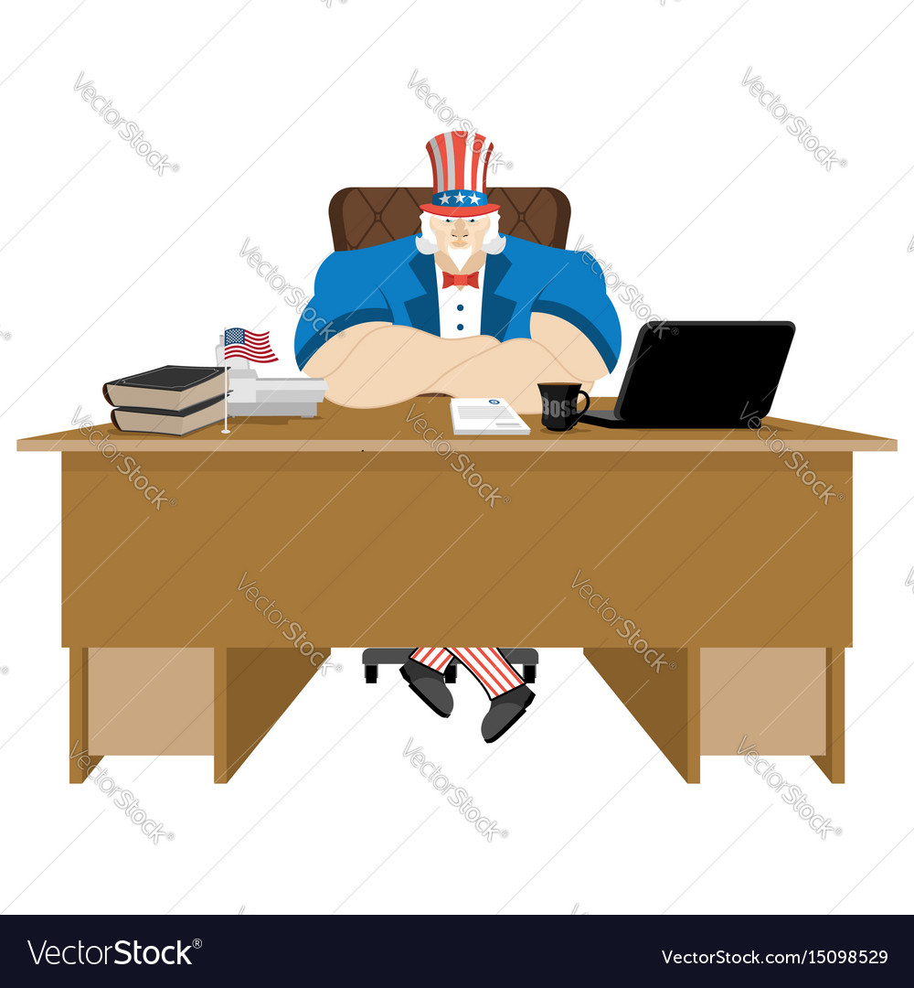American patriot boss uncle sam sitting in office vector image