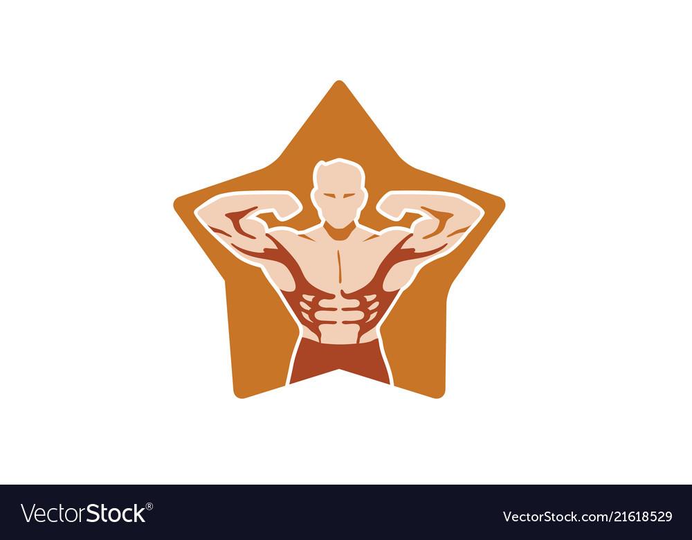 Creative bodybuilder star logo design