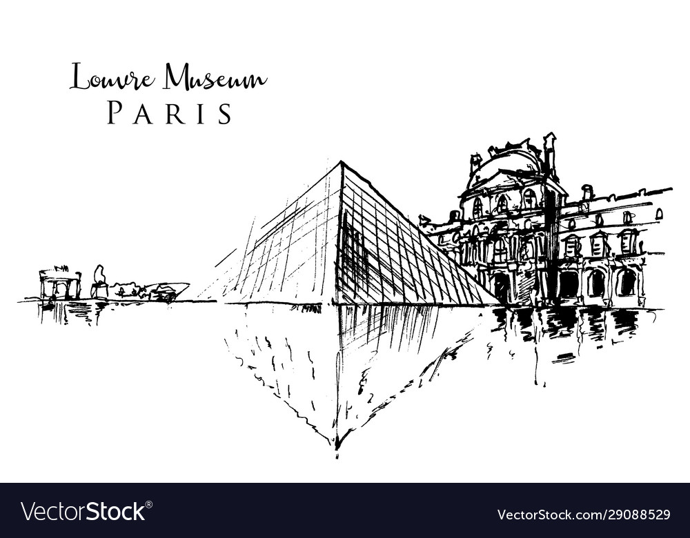 Drawing sketch louvre museum