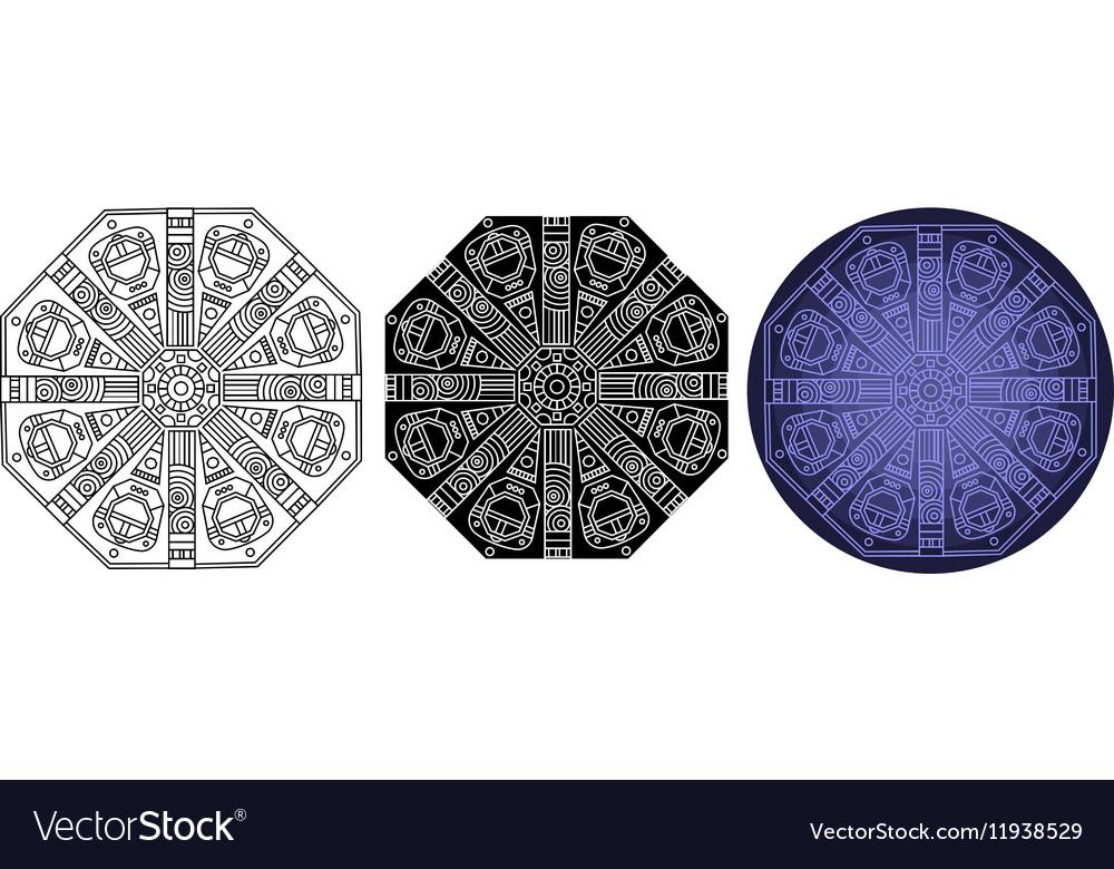 Fantastic geometry mandala for coloring book