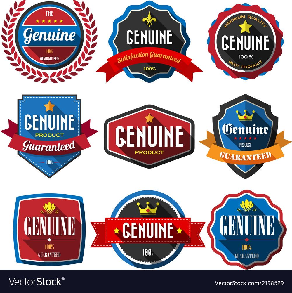 GENUINEretro vintage badges and labels Flat design