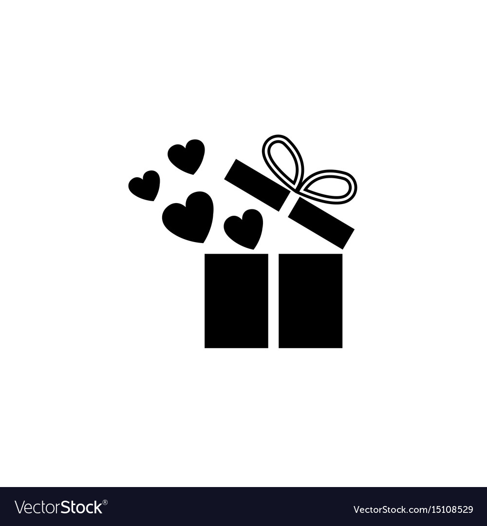 Gift box with hearts solid icon love present Vector Image