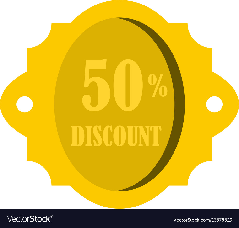 Golden sale label 50 percent off discount icon