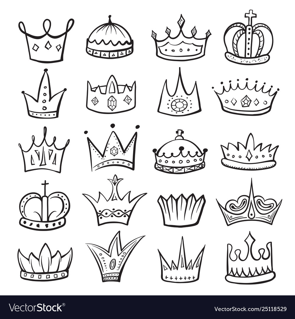 King crown sketch icon monarch and royalty emblem