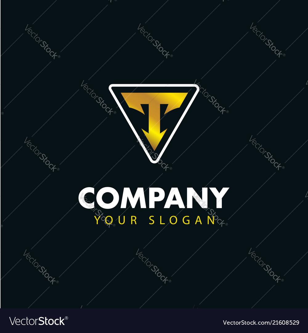 Letter t emblem logo logotype design