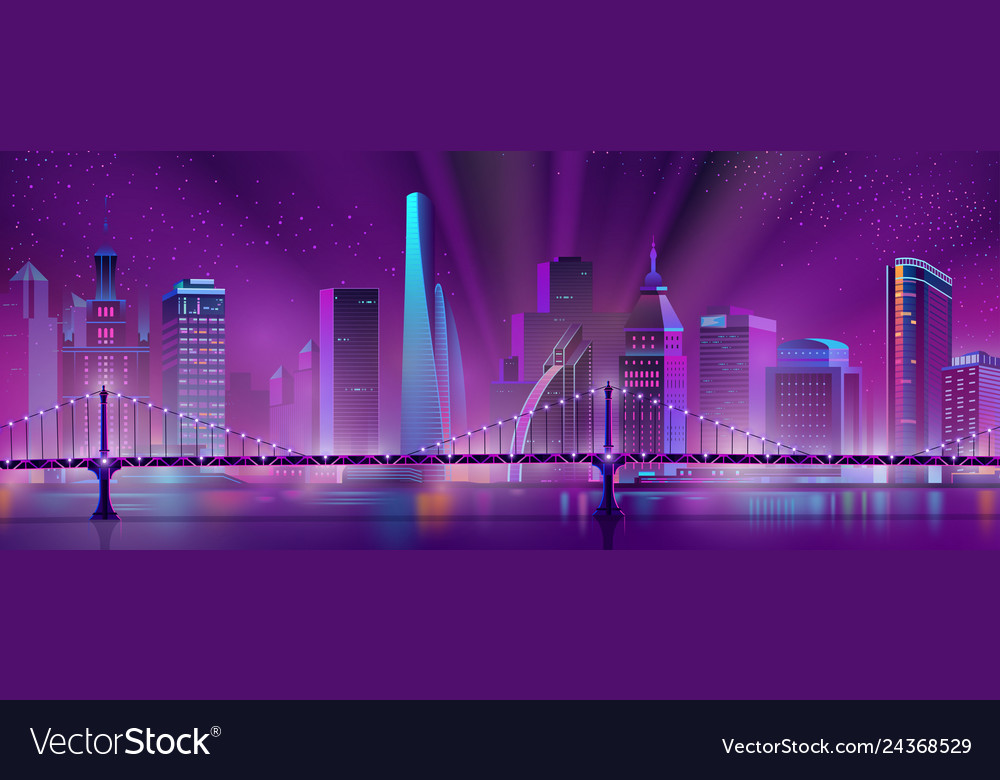 Metropolis downtown night landscape cartoon