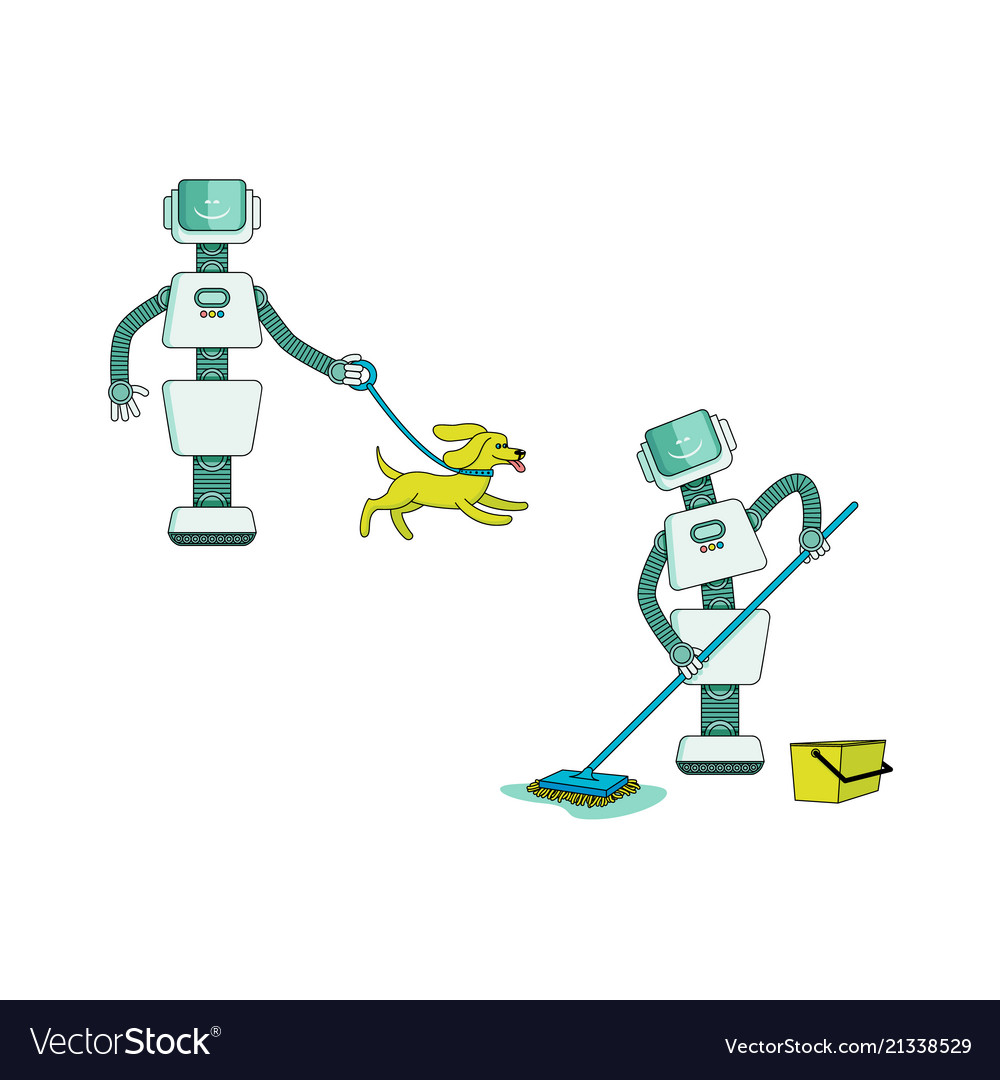 Robot doing housework set - android washing floor