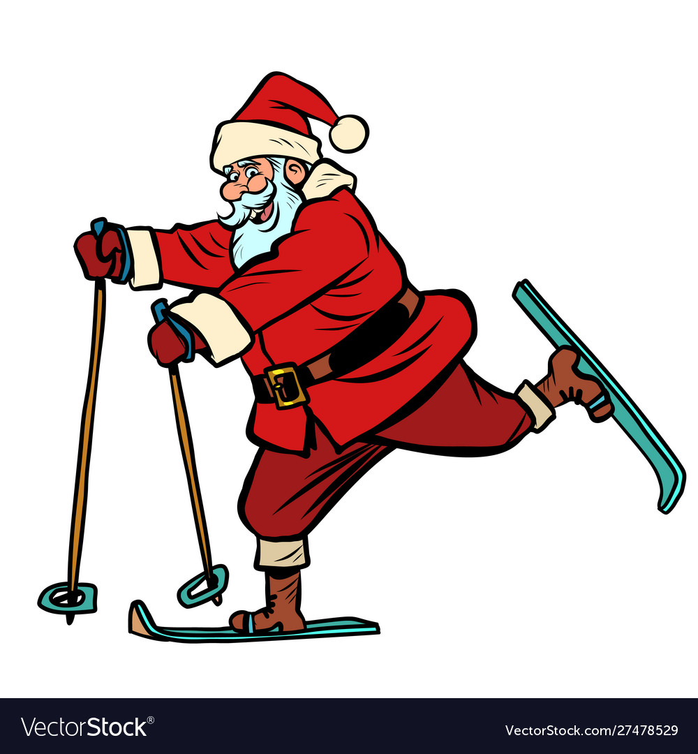 Santa claus goes skiing christmas and new year