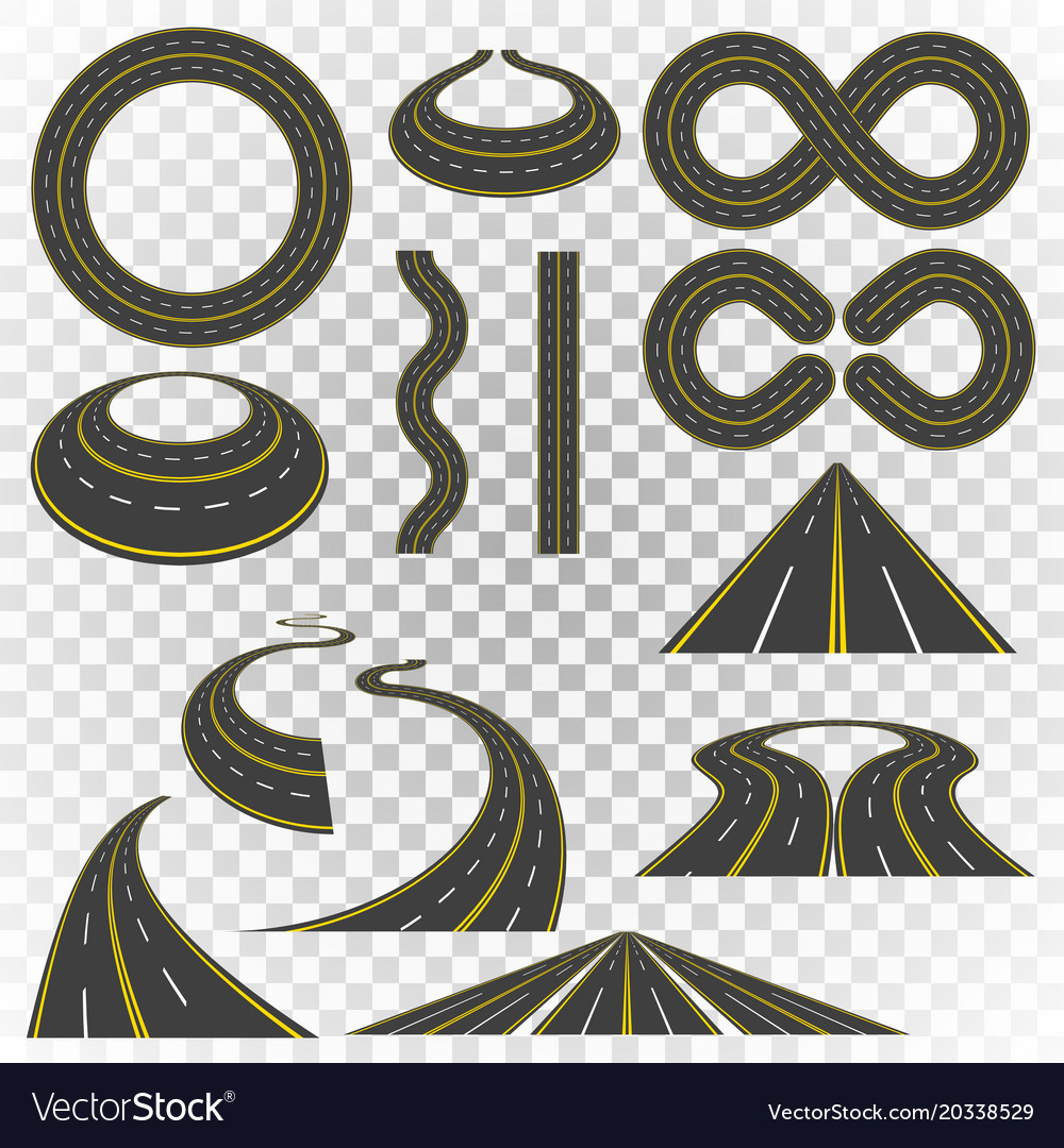 Set of asphalt road curves perspectives turns