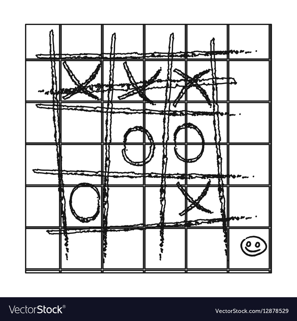 Tic-tac-toe icon in outline style isolated on