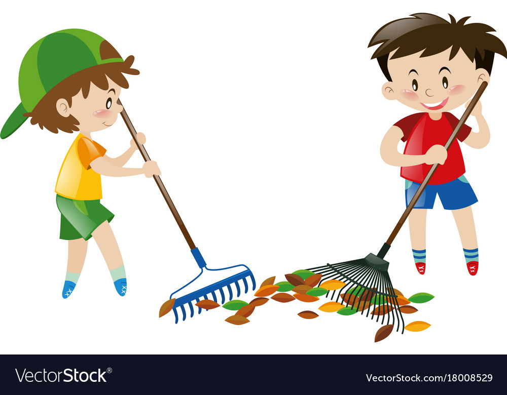 Two boy sweeping leaves with rakes