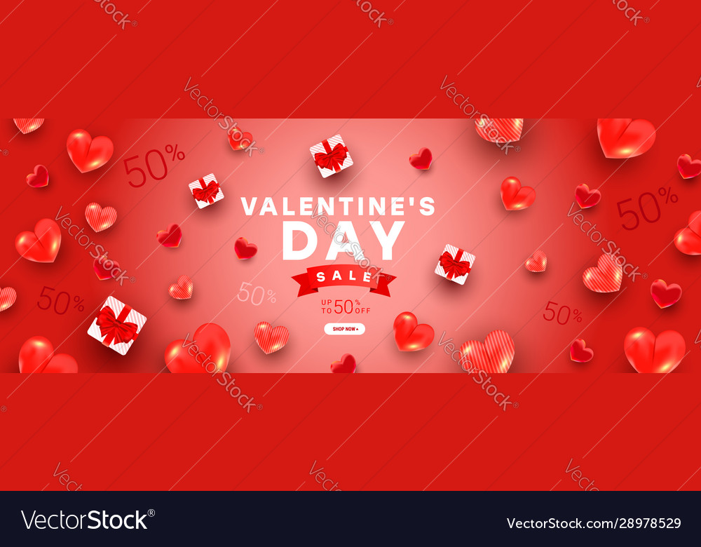 Valentines sale banner template with gift boxes