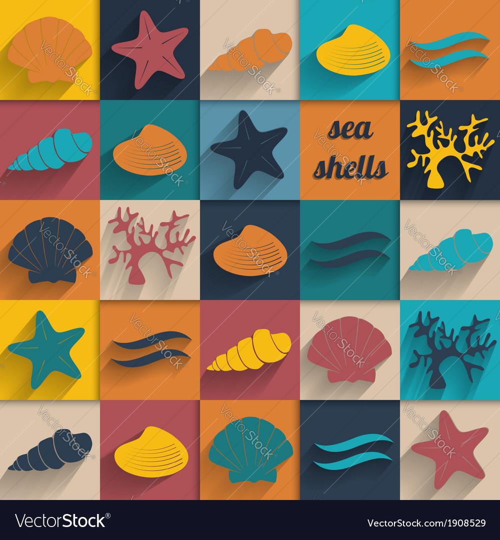 Vintage seashell flat card